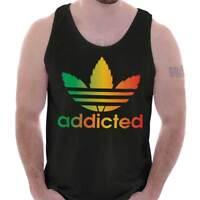 Addicted Stoner 420 Weed Athletic Marijuana Adult Tank Top T-Shirt Tees Tshirt