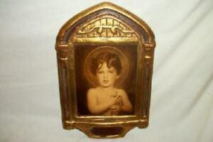 ITALIAN FLORENTINE ANTIQUE GILT PLAQUE SEPIA ST. JOHN 1920's GESSO NICE