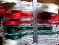 Satin MERRY CHRISTMAS GOLD Print Ribbon - Sheer Edge 40mm 2 & 3 Mtrs Choice CL