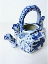 Antique Blue & White Chinese Export Teapot/Dragon-Foo Dogs-Phoenixes/Collectible