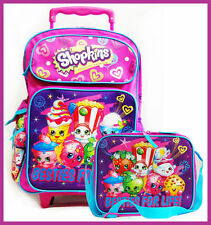 "Shopkins Besties for Life School 16"" inches Rolling Backpack & Lunch Box Girls"