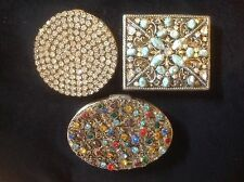 COMPACTS VINTAGE RHINESTONE SUBSTANTIAL DESIGNER LOT OF 3