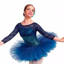 Dance Costume Medium Adult Blue Lace Sequin Ballet Pointe Solo Competition