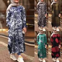 ZANZEA Femmes Floral Vérifier Manches longues Casual Robe Abaya Muslim Kaftan