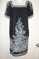 Black White Paisley Jersey Knit Dress Sz Medium 8/10 Boho Signature London Style