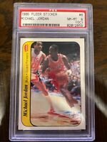1986 FLEER STICKER MICHAEL JORDAN ROOKIE #8 MINT PSA 8 (OC) INVEST NOW! - MJ RC