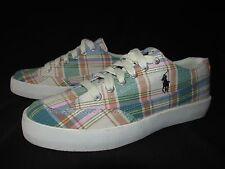 Polo Ralph Lauren Brisbane Green Pink Low Textile Canvas Sneakers  Men's US 8.5B