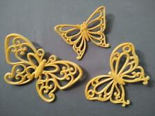 Home Interior Vintage Yellow Wicker Butterfly Wall Plaques - Set of 3