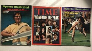 1973 Sports Illustrated BILLIE JEAN KING vs BOBBY RIGGS Set of 3 Issues NO LABEL