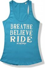 INSPIRE BREATHE BELIEVE RIDE LADIES SINGLET WESTERN HORSE COWGIRL MOTIVATIONAL