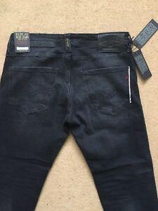 "REPLAY RONAS Men's Stretch Selvedge Denim Slim Fit Black Jeans, W31""/L30"" - £170"