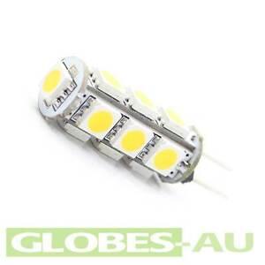2x 12V LED G4 COOL WHITE LIGHT 5050 13 SMD Cabinet Camper Bulb Globe Boat Garden
