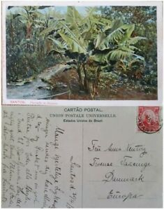 A) 1904, BRAZIL, POSTAL STATIONARY, FROM SANTOS TO EUROPE, WNADENKOLK STAMP, BAN