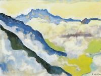 FERDINAND HODLER LANDSCAPE OF SWISS ALPS OLD MASTER ART PAINTING PRINT 884OMA