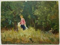 Russian Ukrainian Soviet Oil Painting realism landscape walk forest 1950s