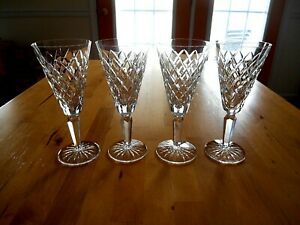"""4 WATERFORD CRYSTAL """"TYRONE"""" STEM CHAMPAGNE FLUTES 7 1/8""""  Excellent & Vintage"""