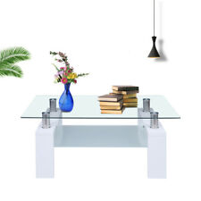 Coffee Table Glass Modern Shelf Wood Living Rectangular Room Furniture White New