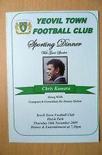 YEOVIL TOWN FC SPORTING DINNER MENU:with CHRIS KAMARA, 26/11/09