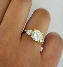 14k Yellow Gold Engagement Ring Wedding Band Set 2.5 CT Round Cut Diamond
