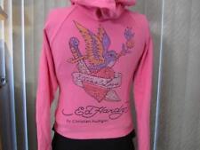 Ed Hardy by Christian Audigier XS Rhinestone Pink sweat shirt hoodie jacket