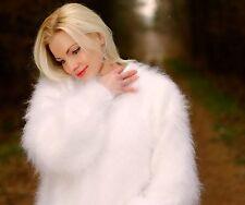 White hand knitted mohair sweater fluffy soft fuzzy handmade jumper SUPERTANYA