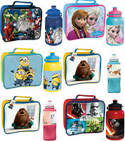 KIDS CHARACTER SCHOOL BOYS GIRLS INSULATED WIPE CLEAN LUNCH BOX BAG BOTTLE SET