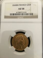 FRANCE 1868BB GOLD 20FR NAPLLEON III NGC AU58 BEAUTIFUL COIN