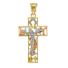 14k Gold LUCKY Crucifix CZ Pendant Horseshoe, Elephant, Owl, Flower, Evil Eye