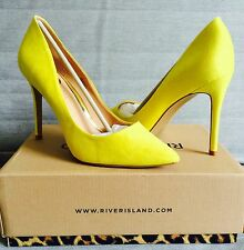 River Island Lemon Yellow Faux Suede Stiletto Court Shoes Size 6/39. New, Boxed.
