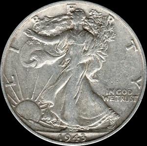 A 1943 S Walking Liberty Half Dollar 90% SILVER US Mint (Exact Coin Shown)