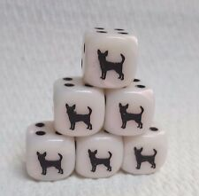 16mm - *6* CHX Custom Chihuahua - Mother-of-Pearl White w/Black pips & #1 dog