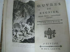 1777 Oeuvres De Regnier French Tome Premier First Volume Nice Condition