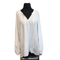 Saks Fifth Avenue Women's white Popover Blouse Top  Size XL New with Tag