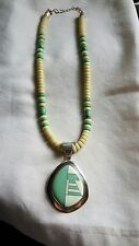 VINTAGE DTR JAY KING STERLING BEADED STONE AND GREEN INLAY PENDANT NECKLACE