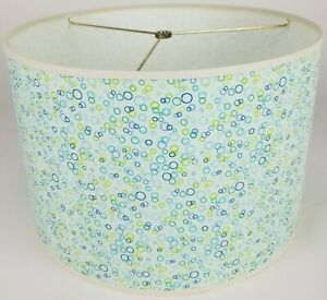 """NEW Drum Lamp Shade 15"""" Dia 10"""" H Contemporary Bubbles Fabric"""