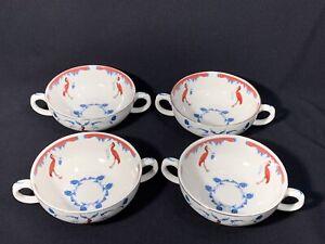 """Lou Rota """" Nature Table """" Red Ibis Bird Tea Cups (4)"""