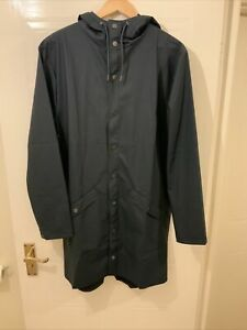RAINS LONG HOODED WATERPROOF BLUE JACKET NEW WITH TAGS XS/S