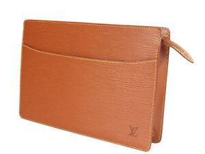 LOUIS VUITTON Pochette Homme Epi Leather Brown Clutch Bag LP4421