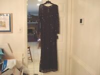 Women's Marina Lace & Sequins Lined Long Dress - Plum Color - Size 14 - NEW NWT