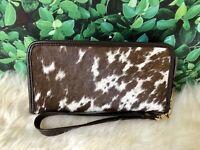 Cowhide Wallet for Women Zip Clutch Purse Clutch Wristlet Brown Calf Leather