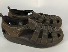Skechers Shape Ups Sandals Womens 11 M Brown Leather Shoes Trim Step