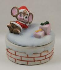 Homco Christmas Porcelain Trinket Jewelry Box Mouse Packages #8901