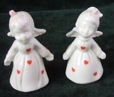 Pair of Mid Century - Enesco - Angel- Figurines - White Decorated with Hearts