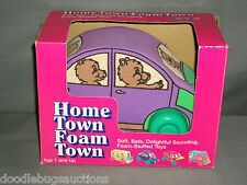 1995 My Kids HOME TOWN FOAM TOWN Preschool Stuffed Bear Car w/Box & Sound age 1+