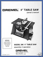 Copy of Owner's Manual for Dremel Table Saw Model 580 580-2 588 588-2