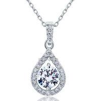 1 Karat Rund Erstellt Diamant 925 Sterling Silber Halskette Anhänger FN8035