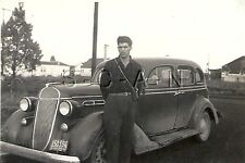 Vintage Real Photo- Family 1936 Chrysler Car- Young Man- Grill- License Plate 42