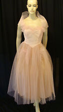 50s VINTAGE PEACH PINK TULLE SHELF BUST RUFFLED PARTY PROM DRESS w SHAWL XS