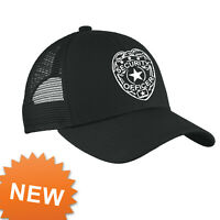 Security Mesh Cap Adjustable Hat Guard Officer One Size Adult strap back Black