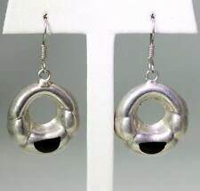 Onyx Circle Earrings 1.5� – 8472 Vintage Sterling Silver Mexico Taxco To-93
